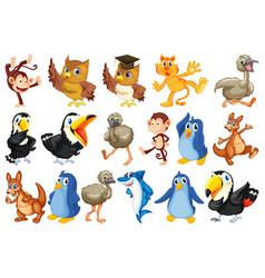set wild animals vector image