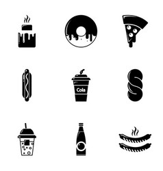 Snacks icons set simple style vector