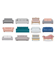 Sofa and couches colorful cartoon vector
