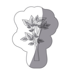 Sticker gray color leafy tree forest icon vector