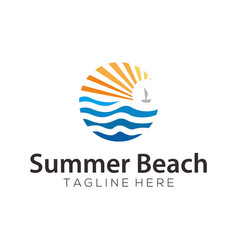 summer beach sea logo and icon design vector image