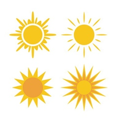 Sun icons set Collection yellow signs vector image
