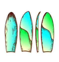 Surfboard in different view color set vector