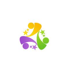 teamwork celebrate logo network team symbol icon vector image