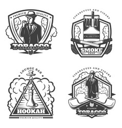 Vintage monochrome smoke emblems set vector