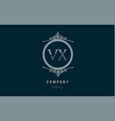 vx v x blue decorative monogram alphabet letter vector image