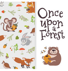 Wild cartoon animals banner cute bear fox mouse vector