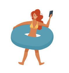 woman with inflatable circle isolated on whote vector image