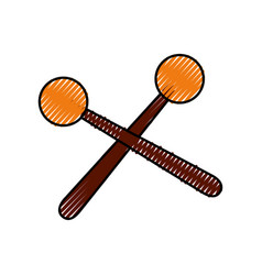 Wooden sticks music percussion acoustic equipment vector
