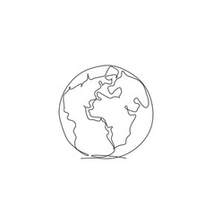 world globe earth single continuous line round vector image
