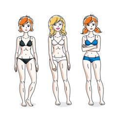 young beautiful women posing in colorful bikini vector image
