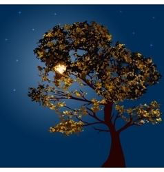 Autumn tree on a background lunar night vector image vector image