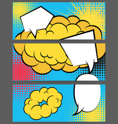 Comic balloon horizontal blue sun banner vector