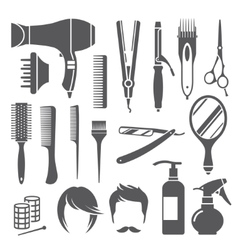 Hairdressing equipment symbols vector image