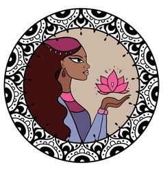 Indian woman with lotus vector