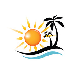 wave sun and palm symbol travel and summer time vector image vector image