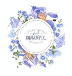 blue flower round banner vector image