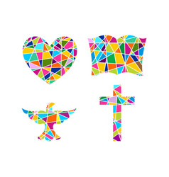 Cross bible heart and dove vector