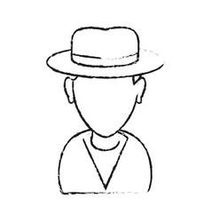 Monochrome blurred silhouette with half body man vector