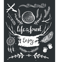 Set of hand drawn tribal elements and dividers vector image vector image