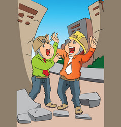 two scared engineers screaming at site vector image