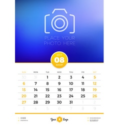 Wall Calendar Template for 2017 Year August Design vector image