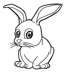 cartoon cute rabbit coloring page vector image vector image