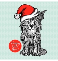 Dog In Christmas Hat vector image