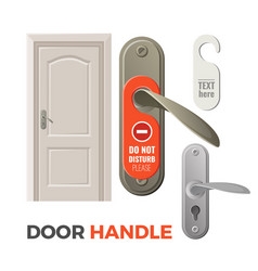 door handles with do not disturb sign and entrance vector image vector image