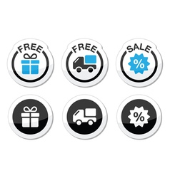 Free gift free delivery sale labels set vector image