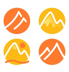 Mountain icons set isolated on white - orange vector image vector image