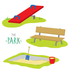 park bench activity kid relax play cartoon vector image vector image
