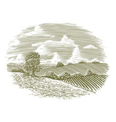 woodcut vintage countryside vector image vector image