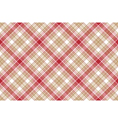Beige red white plaid seamless background vector image