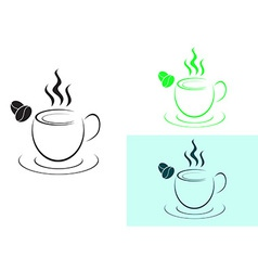 Cup of hot coffee logo sign vector image