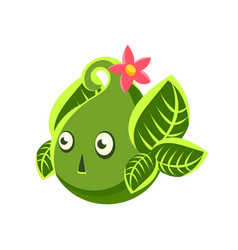 cute fantastic green plant character in the form vector image vector image
