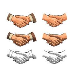 handshake color vintage engraving vector image vector image