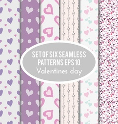 set of six seamless patterns on Valentines Day vector image vector image