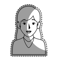 Sticker silhouette half body woman with long hair vector