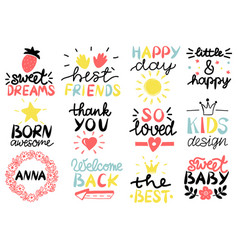 12 children s logo with handwriting happy day vector