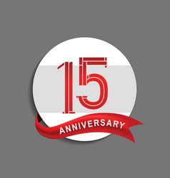 15 anniversary with white circle and red ribbon vector