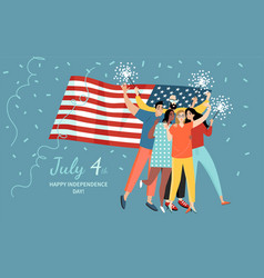 A group friends are celebrating usa vector