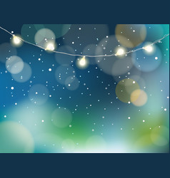 abstract background with snow and garland vector image