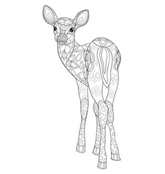 adult coloring bookpage a cute deer vector image
