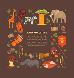 african style frame with animals and aboriginal vector image