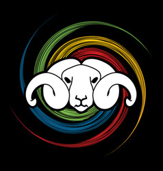 angry sheep face head with big horn vector image