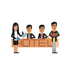 Asian receptionists at hotel reception desk vector