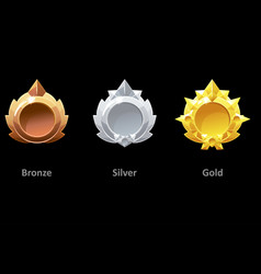 awards medals gold silver and bronze for gui game vector image