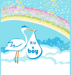 baby boy card - a stork delivering a baby boy vector image