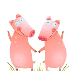 Baby Small Pigs Cute Friends Playing on Grass vector image